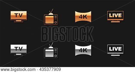 Set Smart Tv, Retro Tv, Screen With 4k And Live Stream Icon. Vector