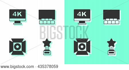 Set Movie Trophy, Screen Tv With 4k, Spotlight And Cinema Auditorium Screen Icon. Vector