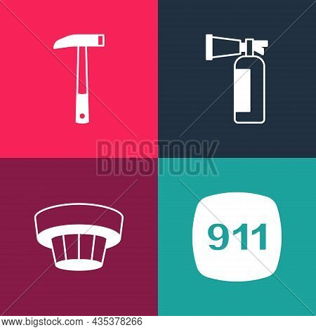 Set Pop Art Emergency Call 911, Smoke Alarm System, Fire Extinguisher And Firefighter Axe Icon. Vect