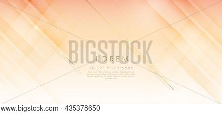 Abstract Template Soft Yellow And Orange Gradient Geometric Diagonal With Golden Lines Sparkle. Luxu