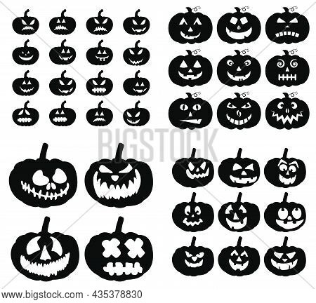 Pumpkins Spooky Smile Silhouettes Set . Jack-o-lantern Carved Facial Expressions For Halloween Card