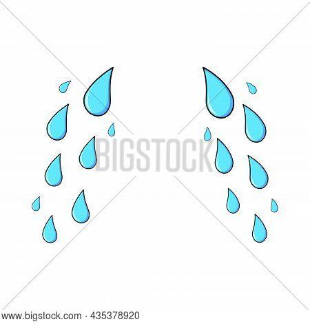 Tear, Cry Cartoon Icon Template. Blue Sad Expression Symbol. Simple Weeping Falling Stream Set.
