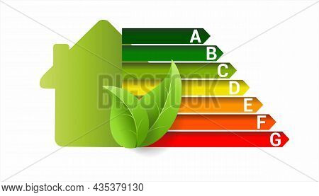 Energy Efficiency Classes With House And Leaves, Vector Concept