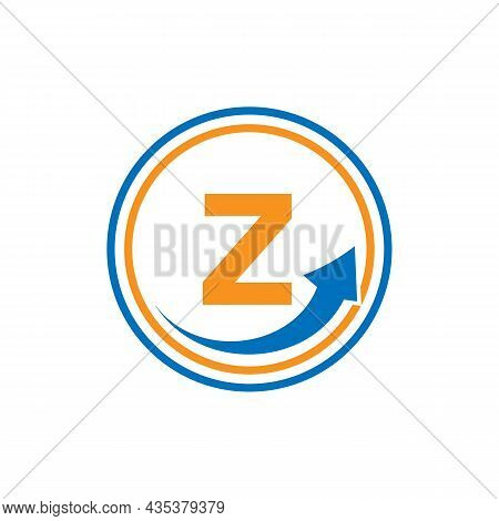 Finance Logo With Growth Arrow On Z Letter. Letter Z Marketing And Financial Business Logo Template