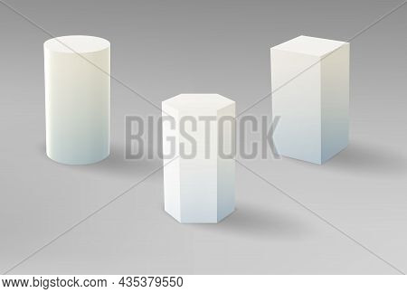 3d Pedestals Or Podium, Geometric Empty Museum Stages. 3d Exhibit Displays For Award Ceremony Or Pro