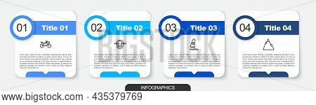 Set Line Motorcycle, Rafting Boat, Windsurfing And Mountains. Business Infographic Template. Vector