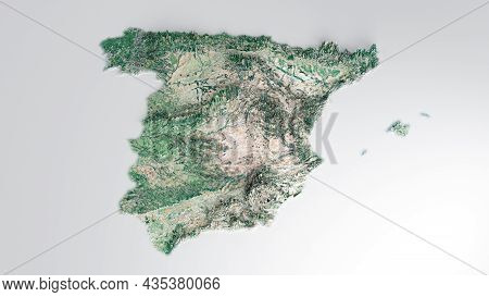 Realistic 3d Geographical Map Of Spain 3d Illustration 3d Rendering