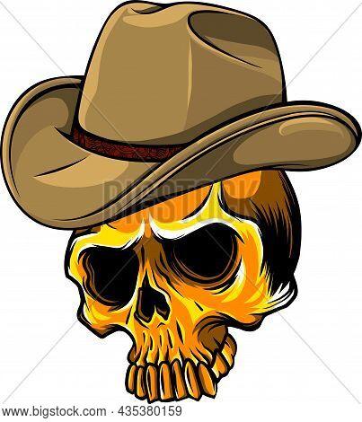 Gangster Skull Head Vector Illustration Design Style