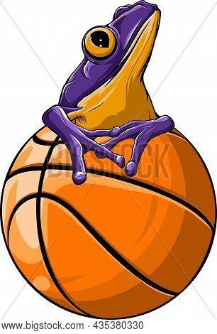 Frog Mascotte On A Basket Ball Vector Illustration