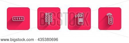Set Line Password Protection, , Digital Door Lock And Car Key With Remote With Long Shadow. Red Squa