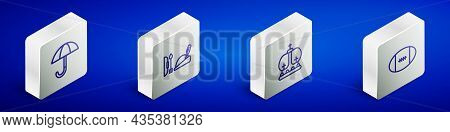 Set Isometric Line Umbrella, Robin Hood Hat, British Crown And Rugby Ball Icon. Vector