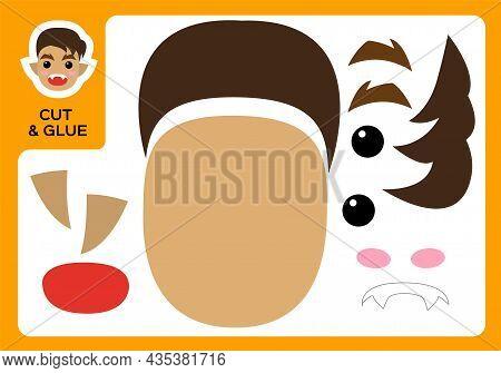 Cut And Glue Cartoon Werewolf. Diy Boy Werewolf Project. Worksheet For Kids. Activity Page. Educatio