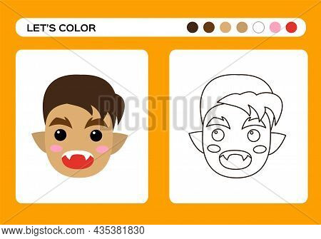 Cartoon Werewolf Monster Cartoon Color Book. Coloring Education For Kids. Happy Halloween Game.