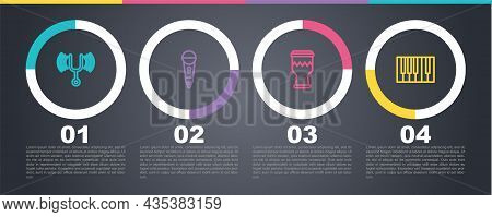 Set Line Musical Tuning Fork, Microphone, Drum And Grand Piano. Business Infographic Template. Vecto