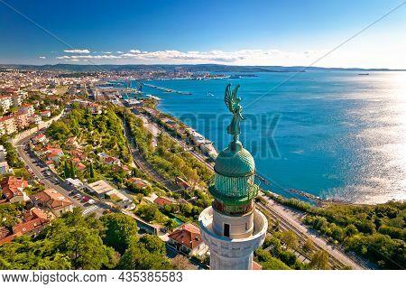 Trieste Lighthouse Phare De La Victoire And Cityscape Panoramic Aerial View, Friuli Venezia Giulia R