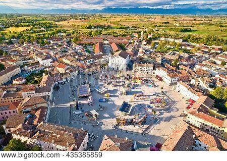 Town Of Palmanova Hexagonal Square Fun Park Aerial View, Unesco World Heritage Site In Friuli Venezi