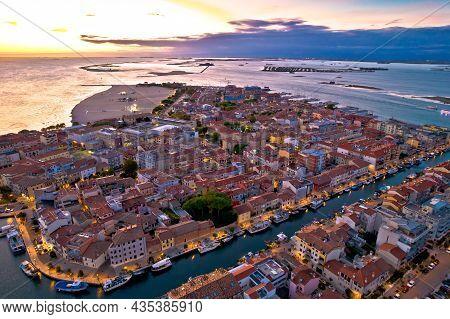 Town Of Grado Colorful Architecture And Archipelago Aerial Evening View, Friuli-venezia Giulia Regio