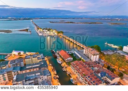 Town Of Grado Archipelago And Bridge To Mainland Aerial Evening View, Friuli-venezia Giulia Region O