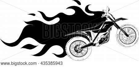 Silhouette Of Motocross With Flames Vector Illustration