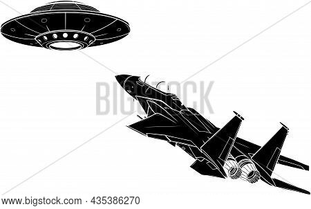Vector Illustration Of Silhouette Ufo Fight With Jet
