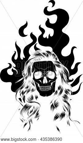 Silhouettes Of Flaming Skulls, Old School Fire Logo Vector Illustration