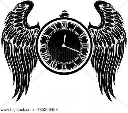 Vector Illustration Of Silhouette Clock With Wings