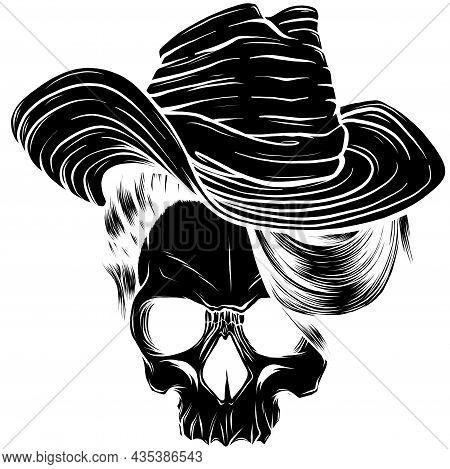 Silhouette Of Cowboy Hat Skull Vector Illustration