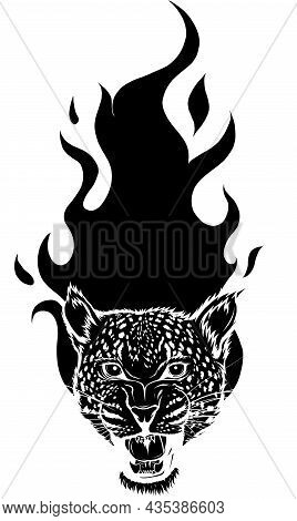 Leopard Head Silhouette With Flames Vector Illustration
