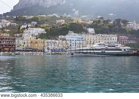 Capri Island, Italy - April 12, 2017: Panorama Of The Seaport Marina Grande, View From The Water On