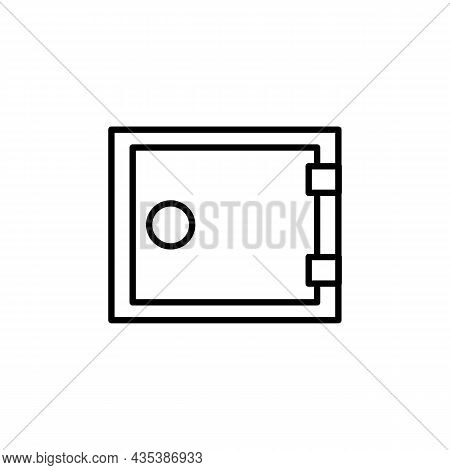 Money Safe Thin Line Icon. Finance, Business Sign On White. Trendy Flat Isolated Outline Symbol, Sig