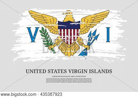 United States Virgin Islands Flag With Brush Stroke Effect And Information Text Poster, Vector
