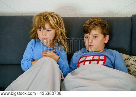 Cute Little Preschool Girl And School Kid Boy Watching Animal Movie Or Movie On Tv. Happy Healthy Ch