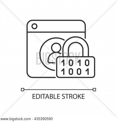Password Encryption Linear Icon. Database Control. Internet Safety Measures. Secure System. Thin Lin