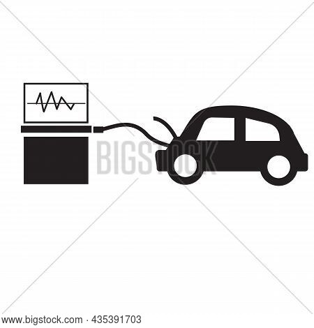 Car Diagnostics Icon On White Background. Computer Diagnostic Machine. Flat Style.