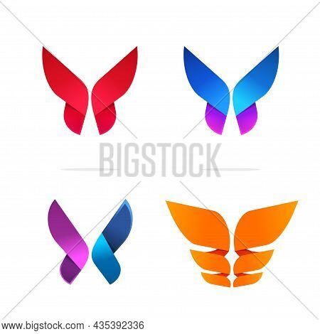 Abstract Butterfly Logo Vivid Modern Geometric Colorful Gradient Flower Style Vector Logotype Collec
