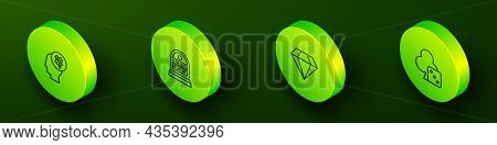 Set Isometric Line Casino Slot Machine With Clover, Slot Jackpot, Diamond And Game Dice Icon. Vector