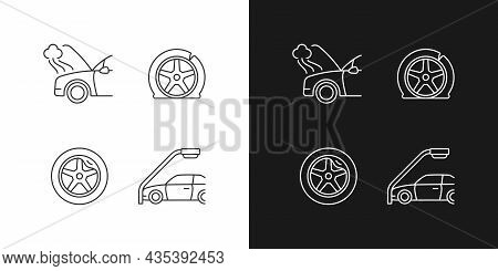 Vehicle Damage In Car Accident Cases Linear Icons Set For Dark And Light Mode. Mechanical Breakdown.