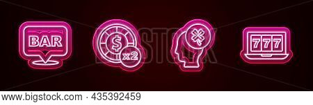 Set Line Alcohol Bar Location, Casino Chips, Slot Machine With Clover And Online Jackpot. Glowing Ne