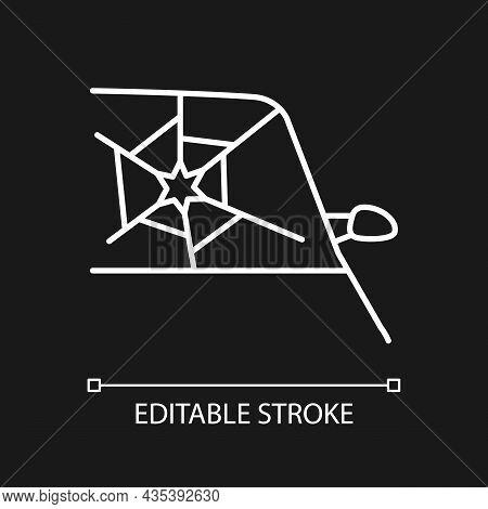 Broken Car Glass White Linear Icon For Dark Theme. Windscreen Damage. Shattering Windshield. Thin Li