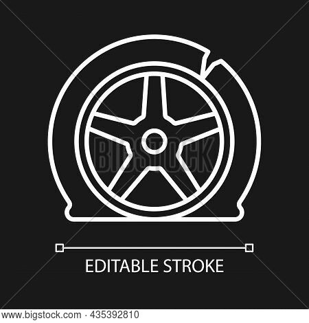 Tyre Damage White Linear Icon For Dark Theme. Vehicle Accident. Tire Defects. Bad Road Conditions. T