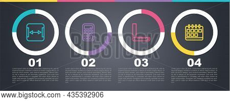 Set Line Area Measurement, Calculator, Corner Ruler And Calendar. Business Infographic Template. Vec