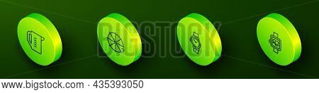 Set Isometric Line Measuring Cup, Circle Of Pieces, Wrist Watch And Smart Icon. Vector