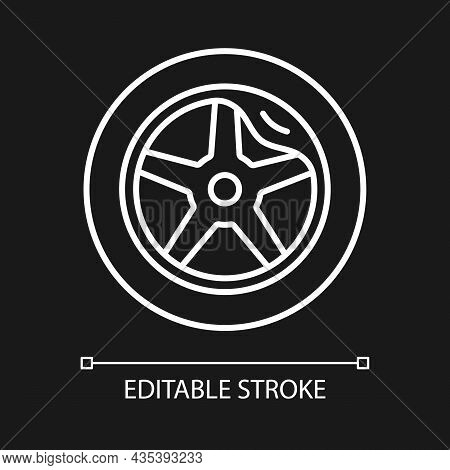 Wheel Damage White Linear Icon For Dark Theme. Collision Damaged Vehicle. Driving On Cracked Rim. Th