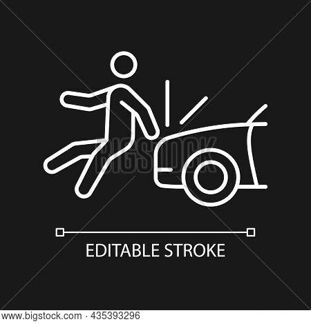 Collision Involving Pedestrian White Linear Icon For Dark Theme. Hitting Walker By Car. Thin Line Cu