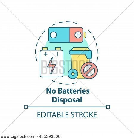 No Batteries Disposal Concept Icon. Waste Management Abstract Idea Thin Line Illustration. Alkaline