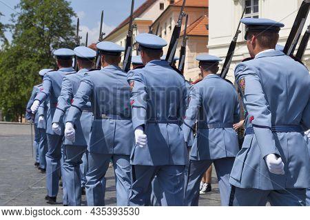 Prague, Czech Republic - June 14 2018: Troop Of Prague Castle Guards At The Entrance Of Hradcany Cas