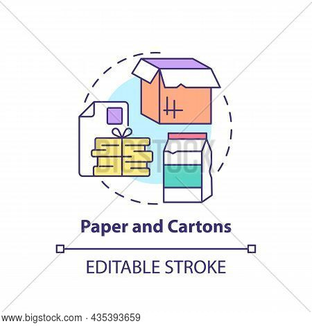Paper And Cartons Concept Icon. Waste Management Abstract Idea Thin Line Illustration. Waste Paper A