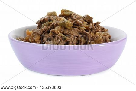 Wet Pet Food In Feeding Bowl Isolated On White