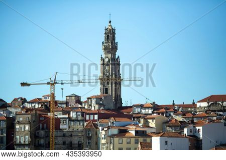 View of roofs, torre and houses in old town Porto, Portugal.