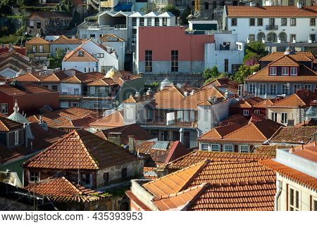 View of roofs of the houses in old town Porto, Portugal.